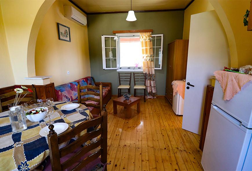 Antigoni Apartments Kassiopi Corfu Greece Kitchen and Living Room