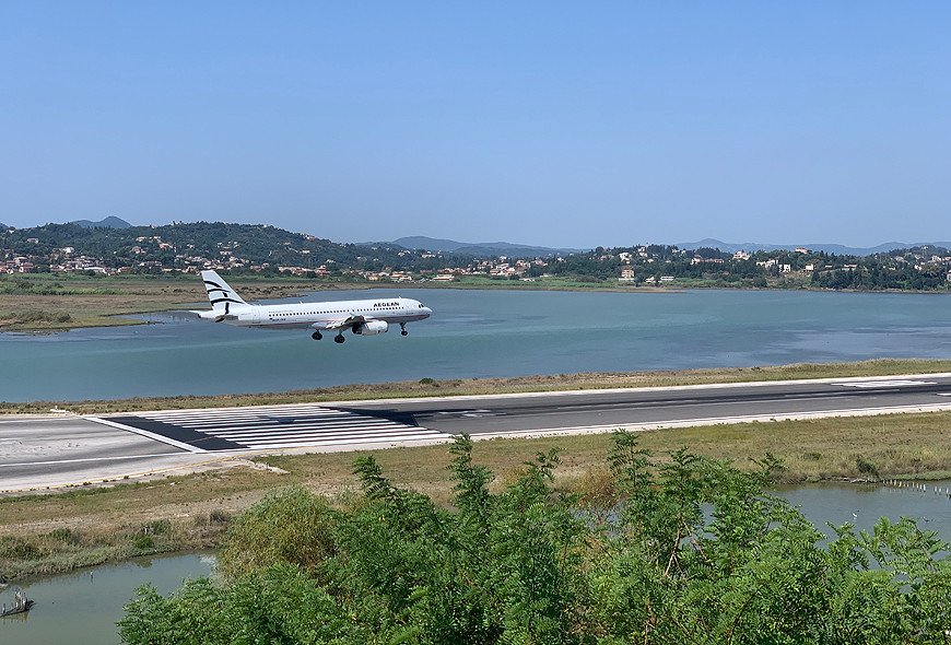 Plane Landing Corfu Sea