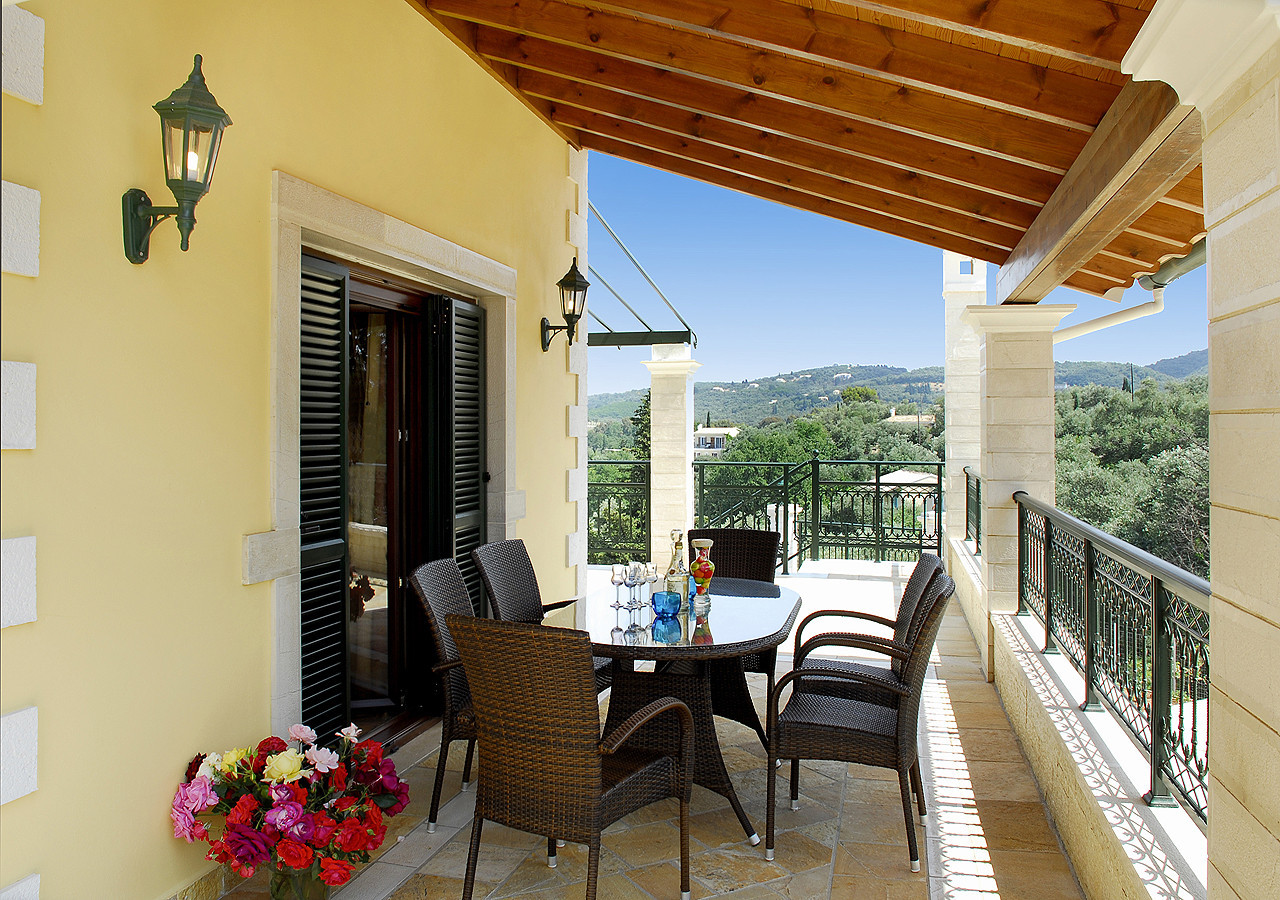 Villa Argyro Balcony Dining Area Seating Kassiopi Corfu Greece