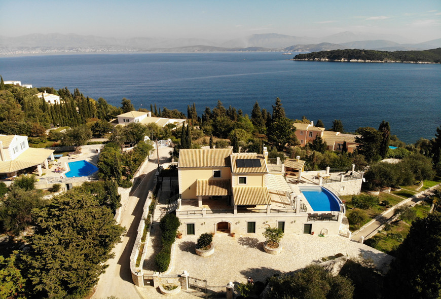Villa Argyro Drone Footage From Above Kassiopi Corfu Greece