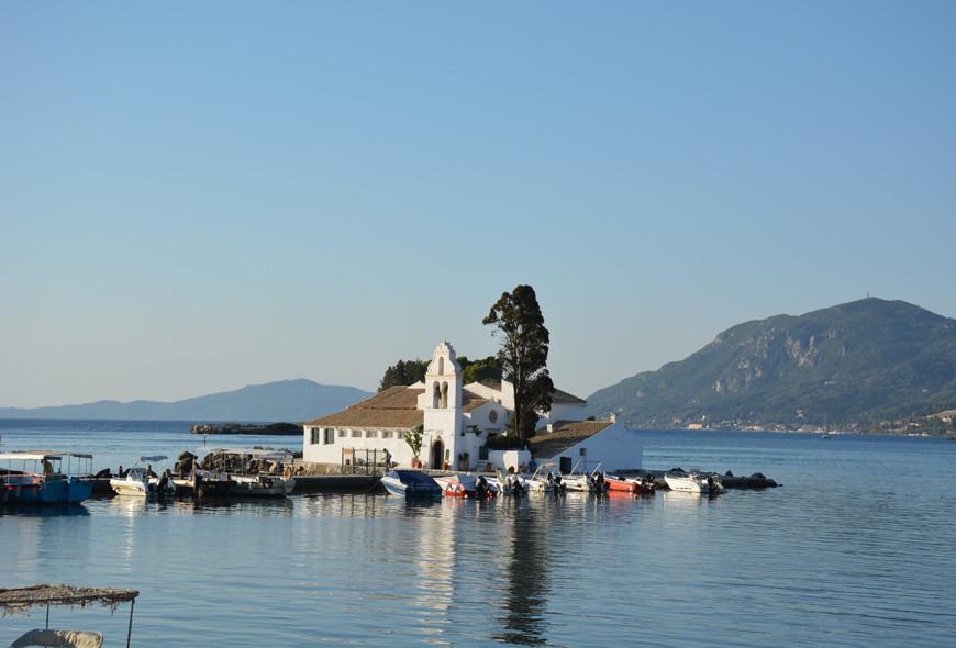 Pontikonisi Vlaherna Monastery Sea Corfu Greece