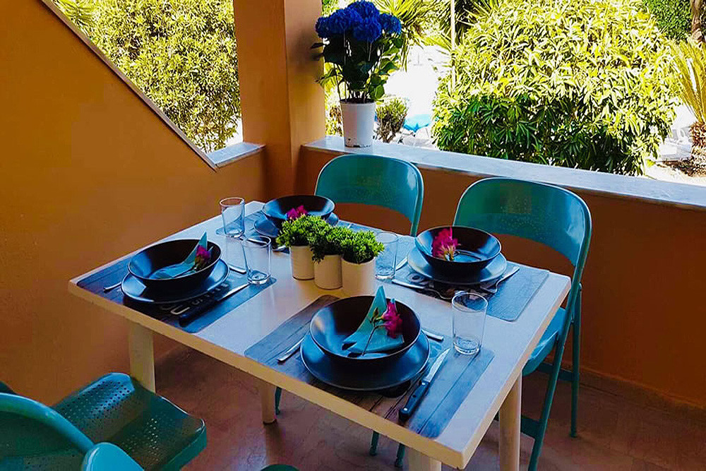 Mary Helen Apartments Dining Patio Terrace Kassiopi Corfu Greece